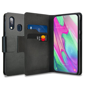 Protect your Samsung Galaxy A40 with this durable and stylish black leather-style wallet case by Olixar. What's more, this case transforms into a handy stand to view media.