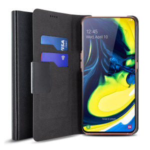 Protect your Samsung Galaxy A80 with this durable and stylish black leather-style wallet case by Olixar. What's more, this case transforms into a handy stand to view media.