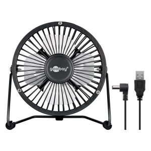 A beautifully minimalist and stylish 4 inch USB powered fan from Goobay. Provides for a cool breeze on your desk. Made of an ultra-light metal frame with ON/OFF switch.