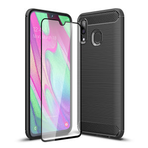 Premium Matte Finish Anti-slip Kulfiber og børstet metal design med fleksibel robust taske, sort Olixar Sentinel taske med forbedret beskyttelsesfolie beskytter Samsung Galaxy A40 fra 360 grader