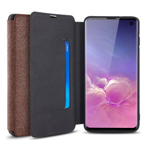 Protect your Samsung Galaxy S10 with this durable and stylish brown canvas case by Olixar. What's more, for convenience this case transforms into a stand to view media and includes a card slot.