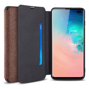 Protect your Samsung Galaxy S10 Plus with this durable and stylish brown canvas case by Olixar. What's more, for convenience this case transforms into a stand to view media and includes a card slot.