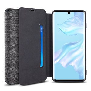 Protect your Huawei P30 Pro with this durable and stylish grey canvas case by Olixar. What's more, for convenience this case transforms into a stand to view media and includes a card slot.
