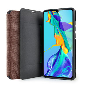 Protect your Huawei P30 with this durable and stylish brown canvas case by Olixar. What's more, for convenience this case transforms into a stand to view media and includes a card slot.