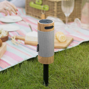 The KS Diggit is an outdoor Bluetooth speaker. The removable stake easily sticks in the ground for outside listening. With the ability to pair with another speaker, your music can be amplified! The KS Diggit has up to 8 hours of play time.