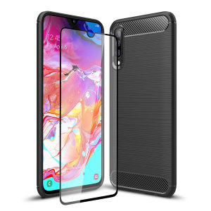 Flexible rugged casing with a premium matte finish non-slip carbon fibre and brushed metal design, the Olixar Sentinel case in black keeps your Samsung Galaxy A70 protected from 360 degrees with the added bonus of a tempered glass screen protector.