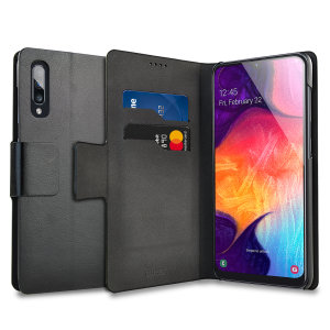The Olixar leather-style Samsung Galaxy A50  Wallet Case in black attaches to the back of your phone to provide enclosed protection and can also be used to hold your credit cards. So leave your regular wallet at home when you need to travel light.