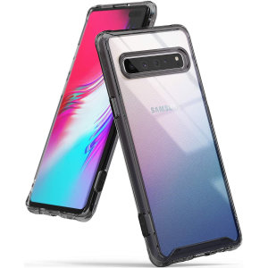 Protect your shiny new  Samsung Galaxy S10 5G  with this Rearth Ringke Fusion Dual Layer bumper case. The smoke black design will perfectly highlight the stunning look of the Samsung Galaxy S10, and keep it protected from bumps & scratches at all time