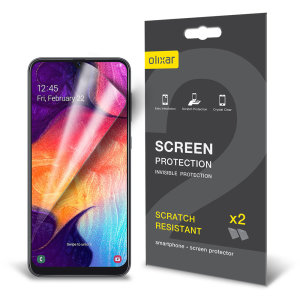 Keep your Samsung Galaxy A50 screen in pristine condition with this Olixar scratch-resistant screen protector 2-in-1 pack.
