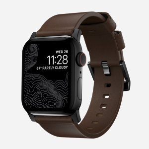 With this beautiful Rustic Brown Leather premium wrist strap from Nomad with black hardware, express yourself and customise your beautiful new 44mm / 42mm Apple Watch Series 1-6 and SE to suit your personal sense of style.