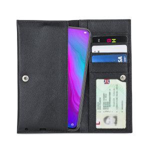 Gemaakt van eersteklas kwaliteit echt leer, met precieze stiksels en knoopsluiting, en met een luxe zachte voering, documentzakken en kaartsleuven beschermt de Primo-hoes je telefoon in stijl.