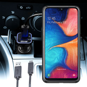 Keep your Samsung Galaxy A20e fully charged on the road with this compatible Olixar high power dual USB 3.1A Car Charger with an included high quality USB to Micro-USB charging cable.