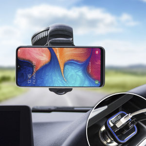 Essential items you need for your smartphone during a car journey all within the Olixar DriveTime In-Car Pack. Featuring a robust one-handed phone car mount and car charger with an additional USB port for your Samsung Galaxy A20e.