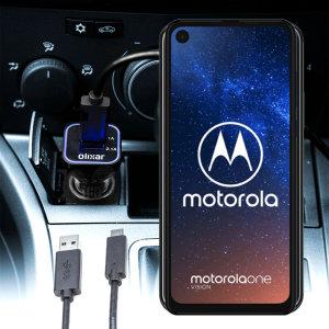 Houd je Motorola One Vision volledig opgeladen op de weg met deze compatibele Olixar-oplader voor high power-auto's.