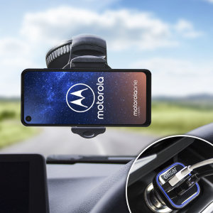 Essential items you need for your smartphone during a car journey all within the Olixar DriveTime In-Car Pack. Featuring a robust one-handed phone car mount and car charger with an additional USB port for your Motorola One Vision.