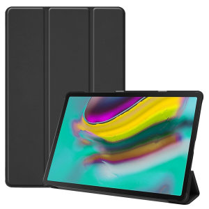 Protect your Samsung Galaxy Tab S5e with this fantastic leather-style stand case. The frame folds out to become a media viewing stand, perfect for streaming videos or gaming.