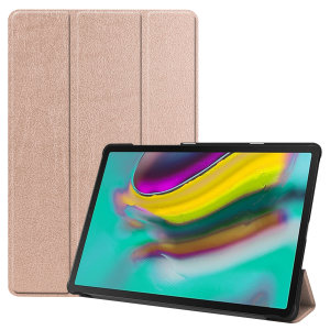 Protect your Samsung Galaxy Tab S5e with this fantastic Rose Gold leather-style stand case. The frame folds out to become a media viewing stand, perfect for streaming videos or gaming.