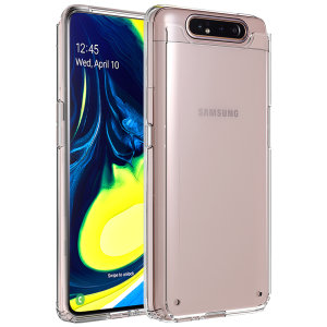 Custom moulded for the Samsung Galaxy A80. This clear Olixar ExoShield tough case provides a slim fitting stylish design and reinforced corner shock protection against damage, keeping your device looking great at all times.
