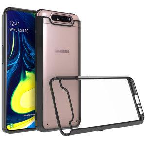 Tilpasset støbning til Samsung Galaxy A80. Dette stærke, sorte Olixar ExoShield-etui giver et slankt og stilfuldt design og forstærket hjørnebeskyttelse mod slag og stød, så din enhed altid ser godt ud.