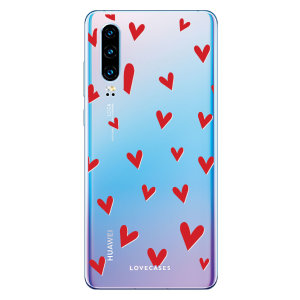 LoveCases Huawei P30 Hearts Phone Case - Clear Red