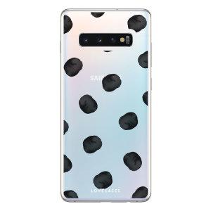 LoveCases Samsung S10 5G Polka Phone Case - Clear Black