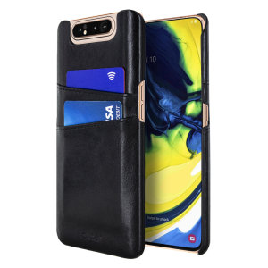 Designed for the Samsung Galaxy A80, this black executive leather-style case from Olixar provides a perfect fit and durable protection against scratches, knocks and drops with the added convenience of 2 RFID protected credit card-sized slots.