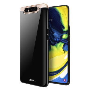 Custom moulded for the Samsung Galaxy A80, this solid black FlexiShield case by Olixar provides slim fitting and durable protection against damage.