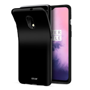 Custom moulded for the OnePlus 7, this solid black FlexiShield case from Olixar provides a slim fitting and durable protection against damage, with an alluring jet black appearance.