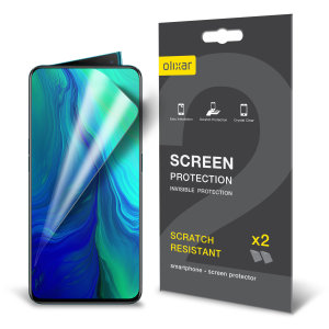 Keep your Oppo Reno 10x Zoom screen in pristine condition with this Olixar scratch-resistant screen protector 2-in-1 pack.