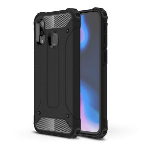 Protect your Samsung Galaxy A40 from bumps and scrapes with this black Delta Armour case from Olixar. Comprised of an inner TPU section and an outer impact-resistant exoskeleton.