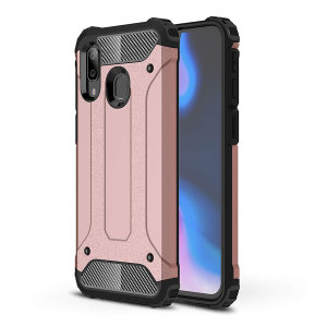 Protect your Samsung Galaxy A40 from bumps and scrapes with this Rose Gold Delta Armour case from Olixar. Comprised of an inner TPU section and an outer impact-resistant exoskeleton.
