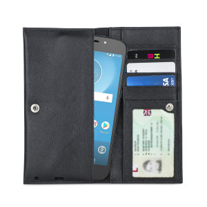 The Primo Wallet Case for the Motorola Moto E5 Cruise is crafted from premium quality genuine leather, with precision stitching and stud closure. Additionally the case features a luxurious soft lining, document pockets and card slots.