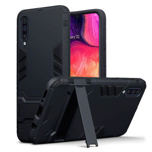 Protect your Samsung Galaxy A50 from bumps and scrapes with this black dual layer armour case from Olixar. Comprised of an inner TPU section and an outer impact-resistant exoskeleton, with a built-in viewing stand.
