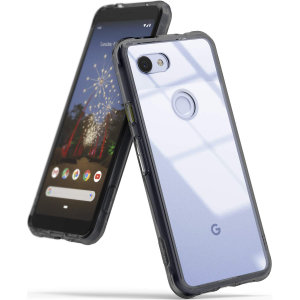 Protect the back and sides of your Google Pixel 3a with this incredibly durable and smoke black backed Fusion Case by Ringke.