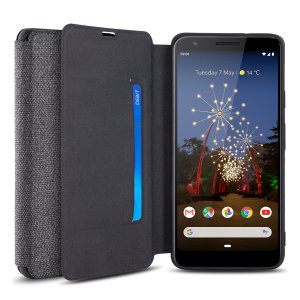 Protect your Google Pixel 3a with this durable and stylish grey canvas case by Olixar. What's more, for convenience this case transforms into a stand to view media and includes a card slot.