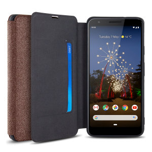 Protect your Google Pixel 3a with this durable and stylish brown canvas case by Olixar. What's more, for convenience this case transforms into a stand to view media and includes a card slot.