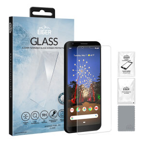 Introducing the ultimate in screen protection for the Google Pixel 3a the 2.5D Glass by Eiger is made from premium real glass with rounded edging and anti-shatter film.