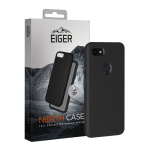 The Eiger North Dual Layer Protective Case in black is a hybrid ergonomic protective case for the Google Pixel 3a XL, providing fantastic protection without adding excessive bulk.