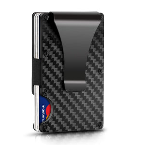 Protect your most valuable cards with this RFID-blocking card holder from Olixar. This stylish and lightweight carbon fibre textured wallet with a clip is capable of holding between 5 and 7 cards, and features an easy release switch.