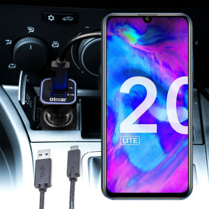 Keep your Honor 20 Lite fully charged on the road with this compatible Olixar high power dual USB 3.1A Car Charger with an included high quality USB to Micro-USB charging cable.