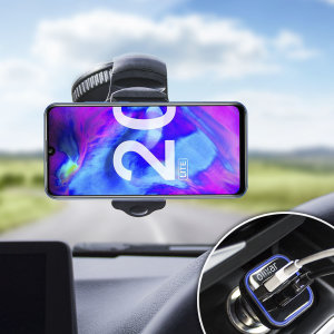 Essential items you need for your smartphone during a car journey all within the Olixar DriveTime In-Car Pack. Featuring a robust one-handed phone car mount and car charger with an additional USB port for your Honor 20 Lite.