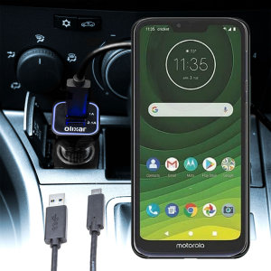 Keep your Motorola Moto G7 Supra fully charged on the road with this compatible Olixar high power dual USB 3.1A Car Charger with an included high quality  1m USB to USB-C charging cable.
