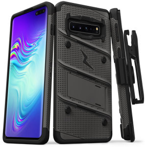 Equip your Samsung Galaxy S10 5G with military grade protection and superb functionality with the ultra-rugged Bolt case in grey and black from Zizo. Coming complete with a handy belt clip and integrated kickstand.