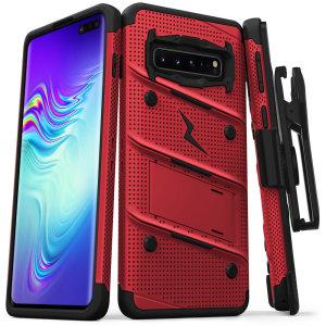 Equipaggiate il vostro Samsung Galaxy S10 5G con protezione di grado militare e funzionalità superba con la custodia ultra robusta Bolt in rosso e nero di Zizo. Completo di una pratica clip da cintura e cavalletto integrato.