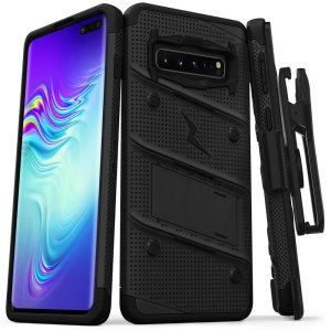 Equip your Samsung Galaxy S10 5G with military-grade protection and superb functionality with the ultra-rugged Bolt case in black from Zizo. Coming complete with a handy belt clip and integrated kickstand.