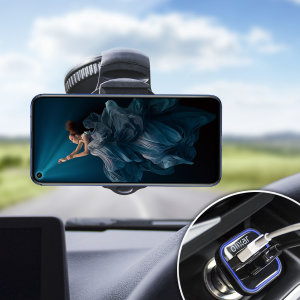 Essential items you need for your smartphone during a car journey all within the Olixar DriveTime In-Car Pack. Featuring a robust one-handed phone car mount and car charger with an additional USB port for your Honor 20.