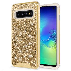 Voici la nouvelle coque Zizo Stellar pour Samsung Galaxy S10. Dotée d'une superbe finition pailletée dorée, elle offre non seulement une protection robuste à votre téléphone, mais elle lui assure aussi un look élégant à tout instant. Cette coque a été spécialement conçue pour ajouter un aspect luxueux et étincelant à votre smartphone.