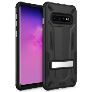 Protect your Samsung Galaxy S10 Plus from bumps and scrapes with this black Zizo Transform case. Comprised of an inner TPU case and an outer impact-resistant shell, the Zizo Hybrid Transformer Case offers a sturdy and robust protection for your phone