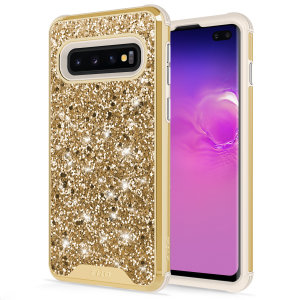 The Protective Stellar series for the Samsung Galaxy S10 Plus. The gold glitter finish gives you protection for your phone in style. This case is made for pure luxury and style.