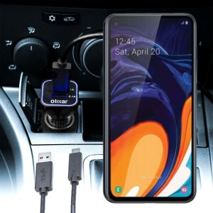 Keep your Samsung Galaxy A60 fully charged on the road with this compatible Olixar high power dual USB 3.1A Car Charger with an included high quality  1m USB to USB-C charging cable.